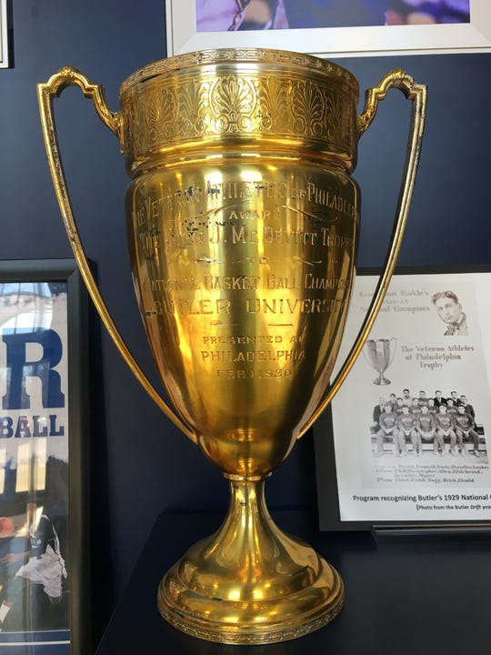 Butler's 1929 national championship trophy displayed at Hinkle Fieldhouse.