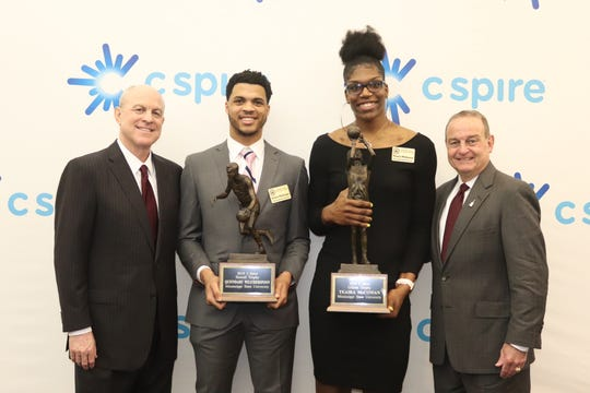 Mississippi State seniors Quinndary Weatherspoon and Teaira McCowan are the best two college basketball players in the state of Mississippi. They were joined by their respective head coaches, Ben Howland and Vic Schaefer, to receive the awards.