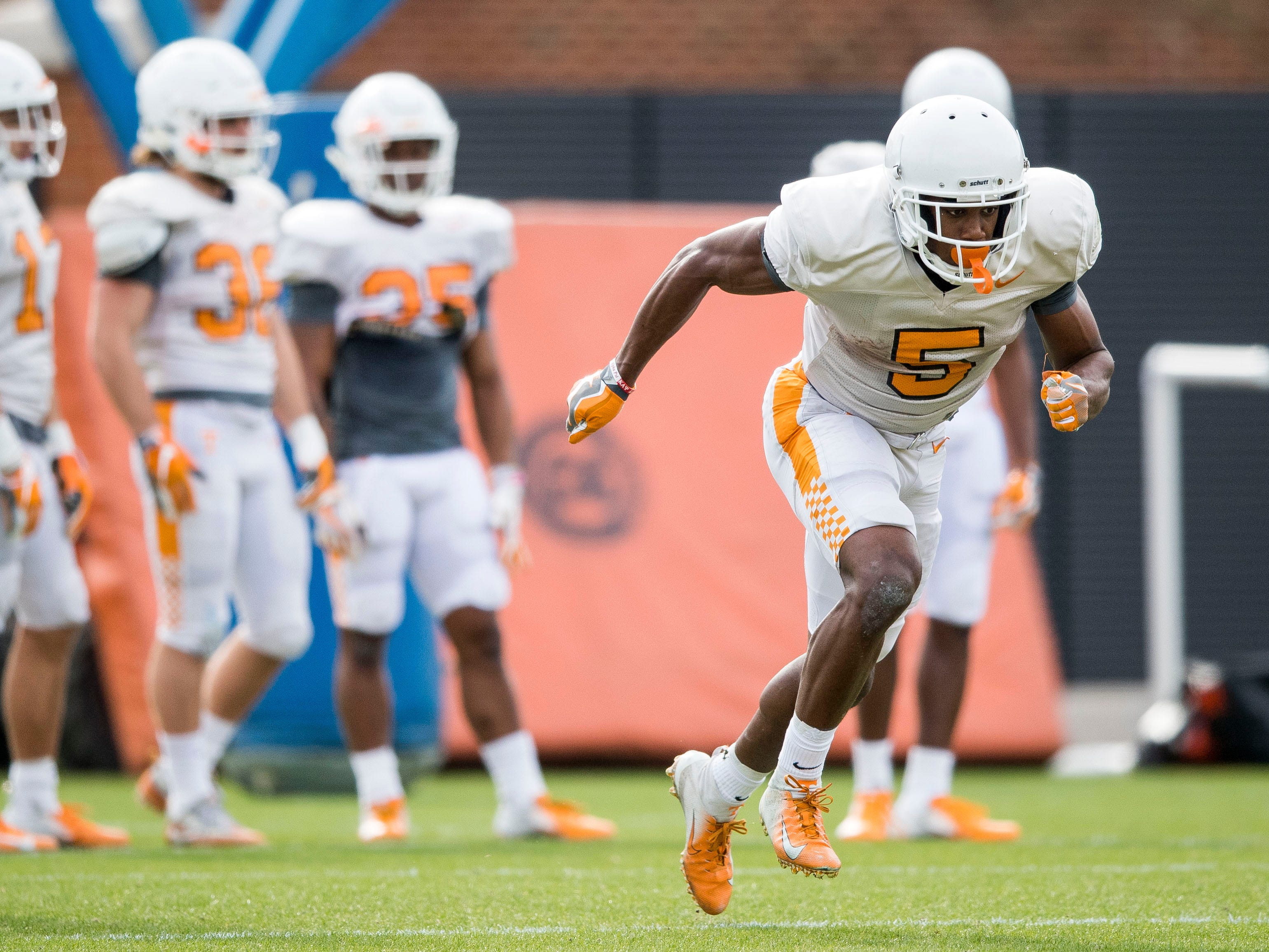 Tennessee wide receiver Josh Palmer (5) during Tennessee's afternoon football practice on Monday, March 11, 2019.