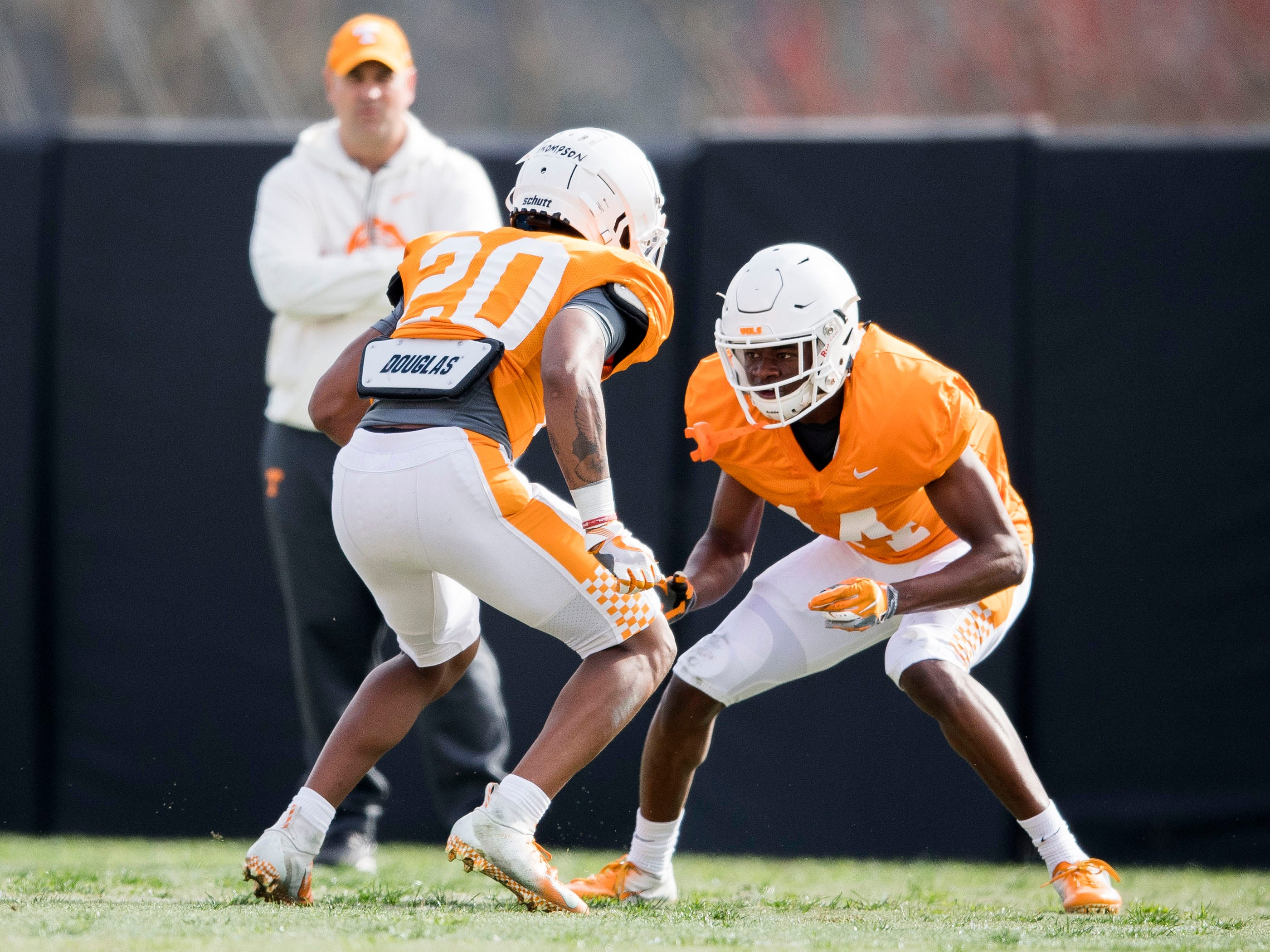 Tennessee defensive backs Bryce Thompson (20) and Warren Burrell (14) during Tennessee's afternoon football practice on Monday, March 11, 2019.