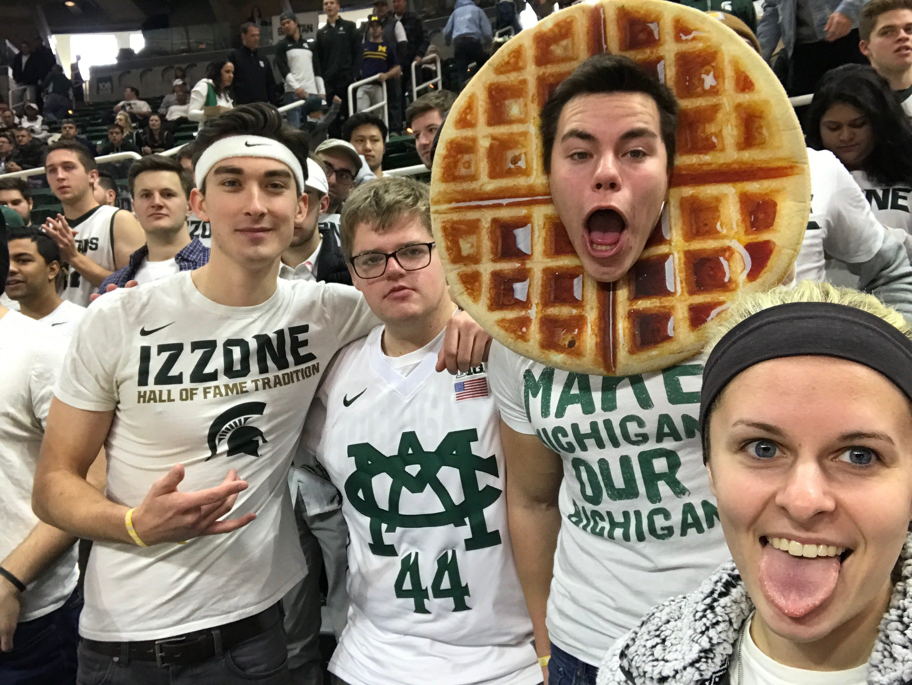 Nathan 'Waffle Guy' Guzowski received a few minutes of ESPN airtime March 9 during Michigan State's home basketball game against Michigan. Guzowski, 22, is an MSU senior from Livonia who is expected to graduate this spring.