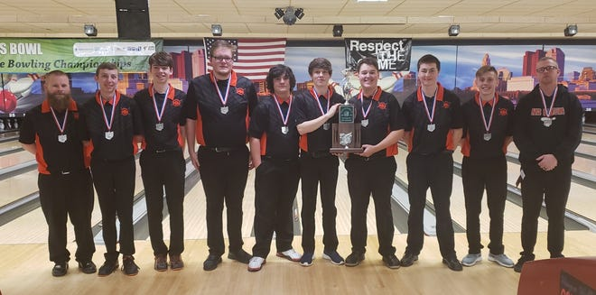 The Ashland Arrows with the Division I runner-up trophy earned this past weekend at the state bowling tournament in Columbus.
