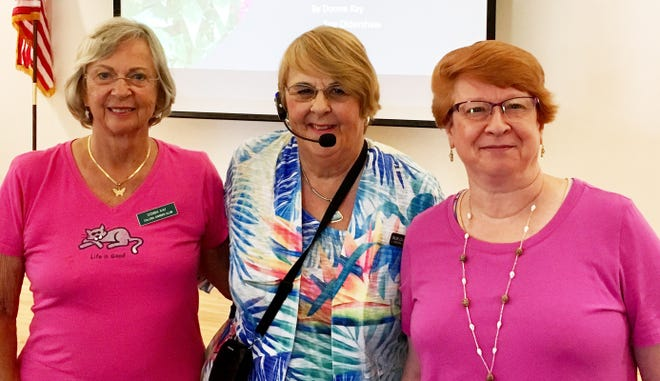 """On Wednesday, Feb. 27, the Marco Island branch of the Collier County Library presented two Calusa Garden Club members who gave a presentation about """"Gardening On Our Island."""" Garden Club member Sue Oldershaw is a 40-year Marco Island gardener and winner of the Marco Beautification Advisory Committee's Bloom Award. Garden Club member Donna Kay, a Collier County master gardener and longtime Marco Island gardener collaborated on the presentation. Their hour-long talk was illustrated with over 80 photos of Marco Island home, balcony or lanai and commercial landscapes. The presentation was informative and helpful to those in attendance. The audience members had many questions about native plants, other plants that do well in our sub-tropical environment, fertilizers, and how to improve and help sustain our waterways through good landscaping and gardening practices. Above: Donna Kay, Sue Oldershaw and Nancy Rasch, Marco Island Branch library executive director."""