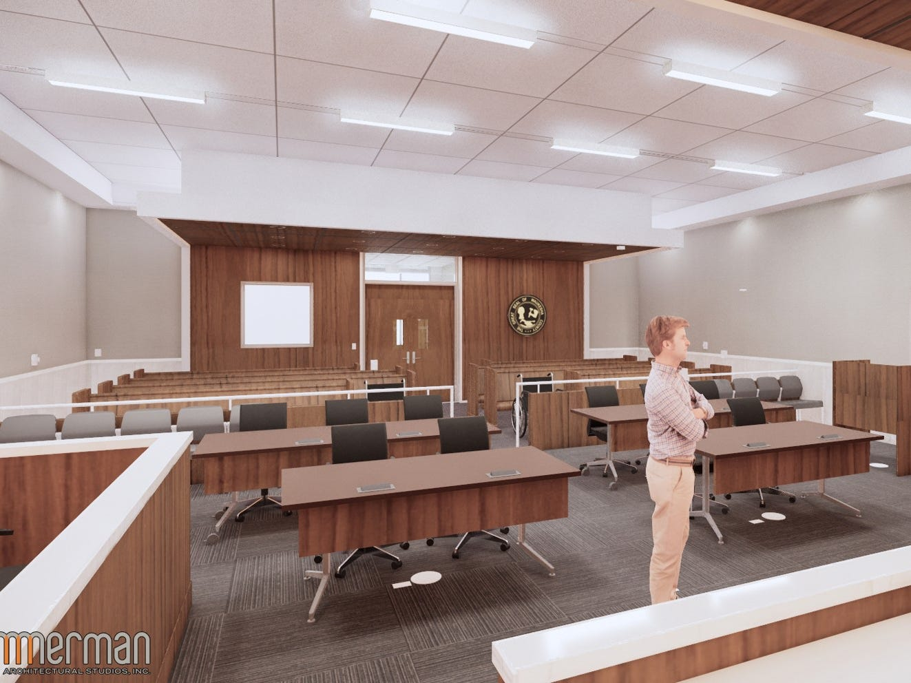 This rendering shows an example of what one of the eight new courtrooms at the Waukesha County Courthouse might look like once construction is complete in 2021. This view faces the gallery, with the jury seating to the left.