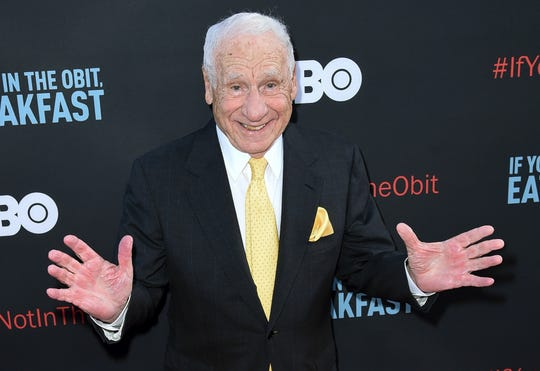 """Mel Brooks, shown at a 2017 premier in Los Angeles, is the subject of """"Funny Man,"""" a new book by Milwaukee film biographer Patrick McGilligan."""
