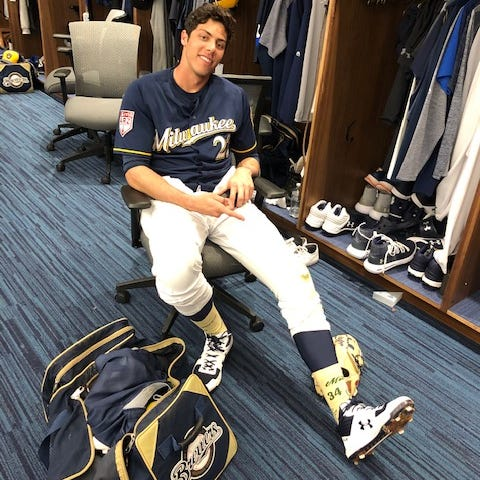 NL MVP Christian Yelich puts his best foot forward in support of the Greek Freak