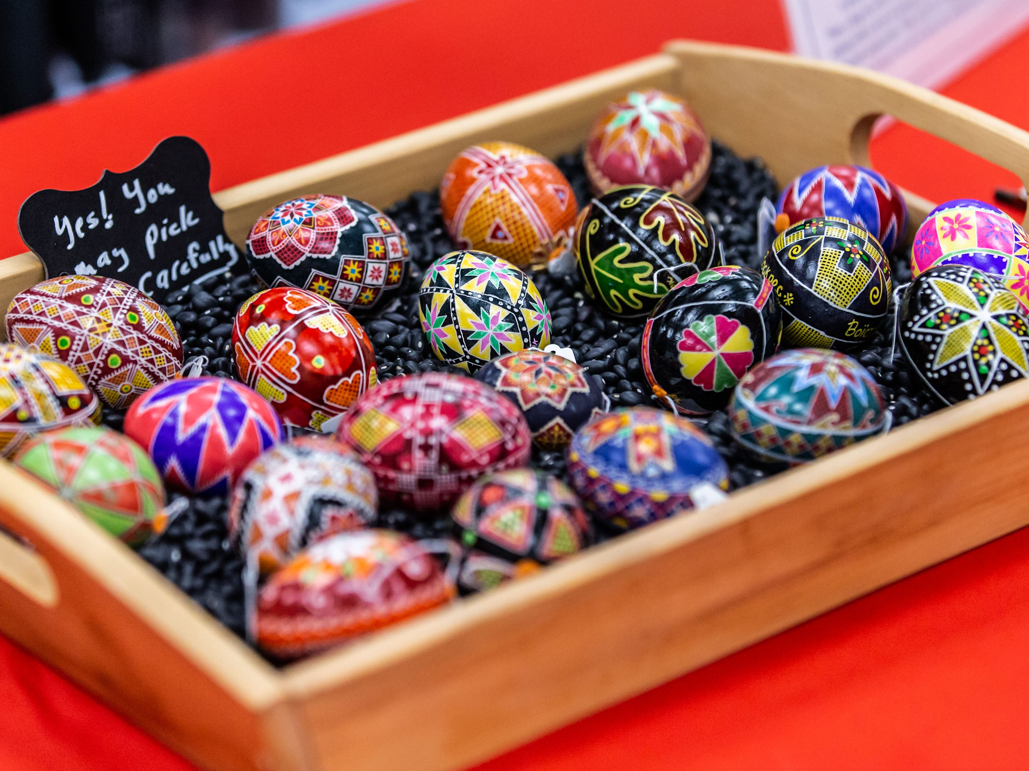 Diane Kitzerow of Cedarburg offers a variety of her Beautiful Eggs during the 7th annual Art in the Burg art fair at Cedarburg High School (CHS) on Saturday, March 9, 2019. The event, sponsored by the CHS Fine Arts Boosters and Art Department, features 75 artists from the midwest exhibiting and selling original work in many artistic disciplines.