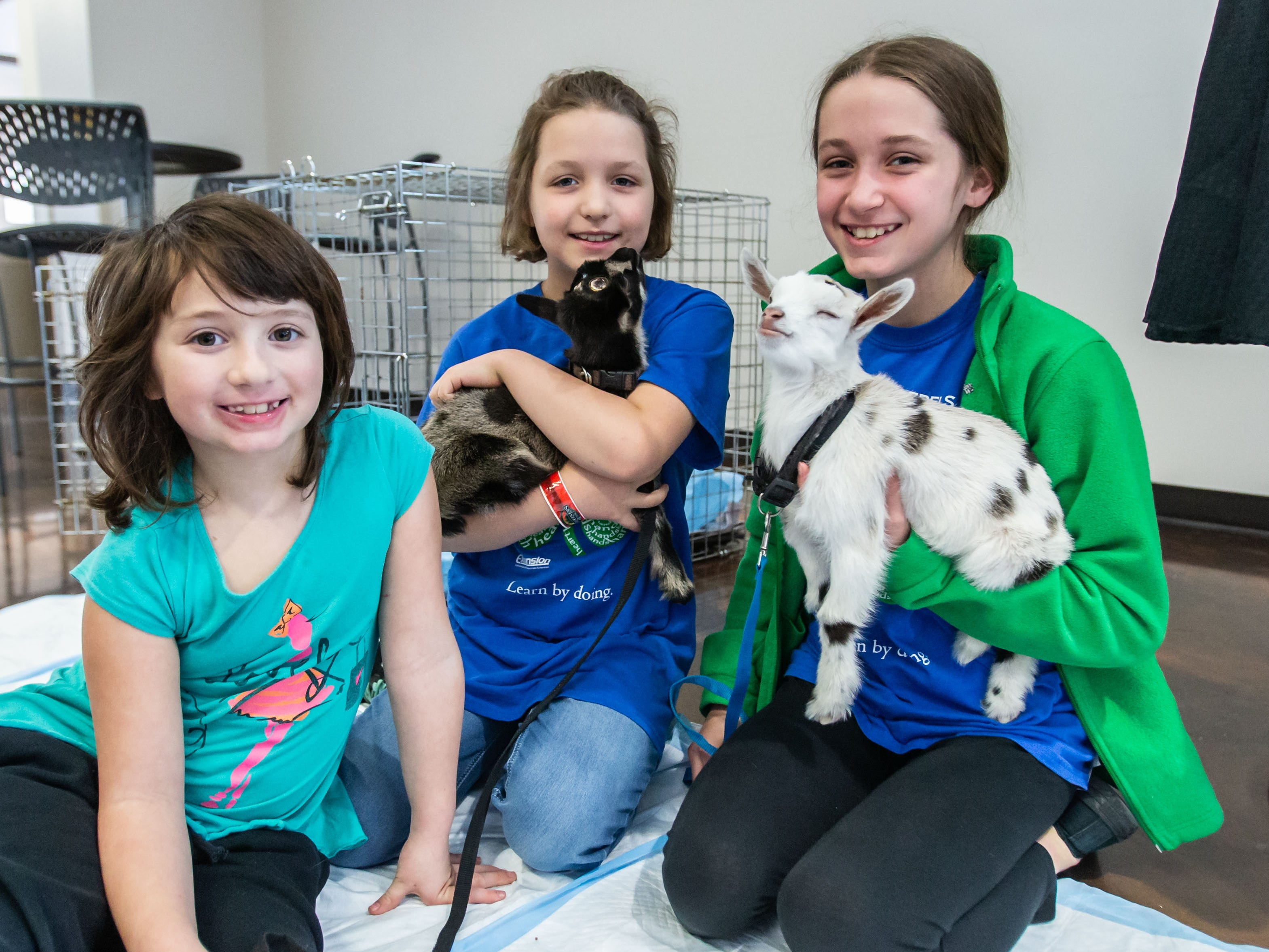 Julianna Datka (left), 7, of Lisbon visits with the Anna (center), 8, and Kaitlin Hackbarth, 12, and their one-week-old baby goats during the Winter Farmers Market at the Sussex Civic Center on Sunday, March 10, 2019.