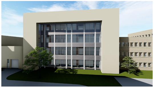 This rendering shows what the facade of the four-story, eight-courtroom addition at the Waukesha County Courthouse will look like once it is completed in 2021. Demolition on the existing court intake and old jail facilities at the construction site began March 11.