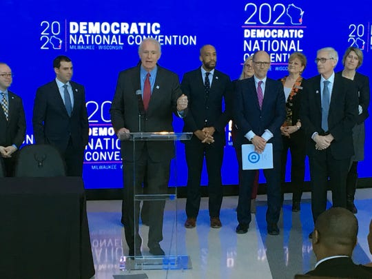 Milwaukee Mayor Tom Barrett speaks at a 3 p.m. news conference announcing that the 2020 Democratic National Convention will be held in Milwaukee. The convention is scheduled for July 13-16, 2020, with Fiserv Forum serving as the centerpiece of the event.