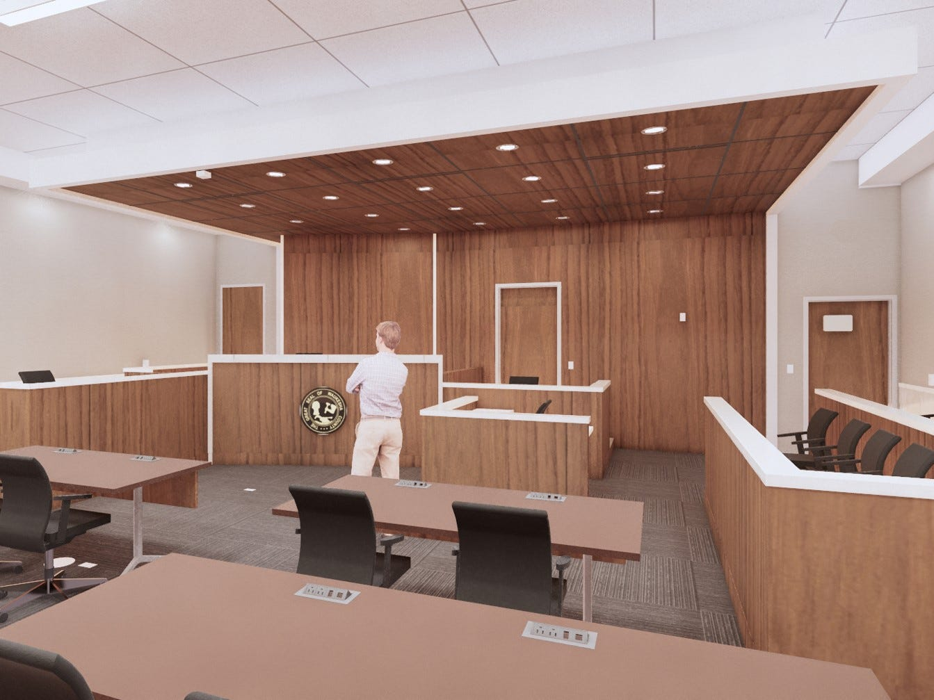 This rendering shows an example of what one of the eight new courtrooms at the Waukesha County Courthouse might look like once construction is complete in 2021. This view faces the bench, with the jury seating to the right.