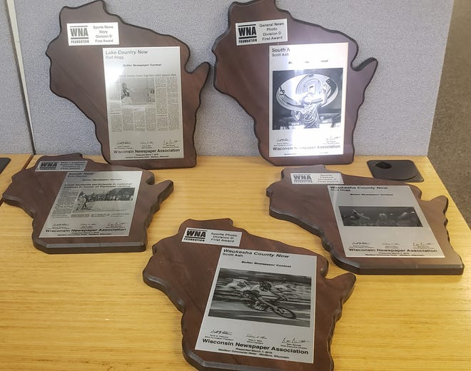These plaques are just a few of the 43 awards Now News Group earned at the Wisconsin Newspaper Association annual contest. The honors, awarded March 7, were for work done in 2018.