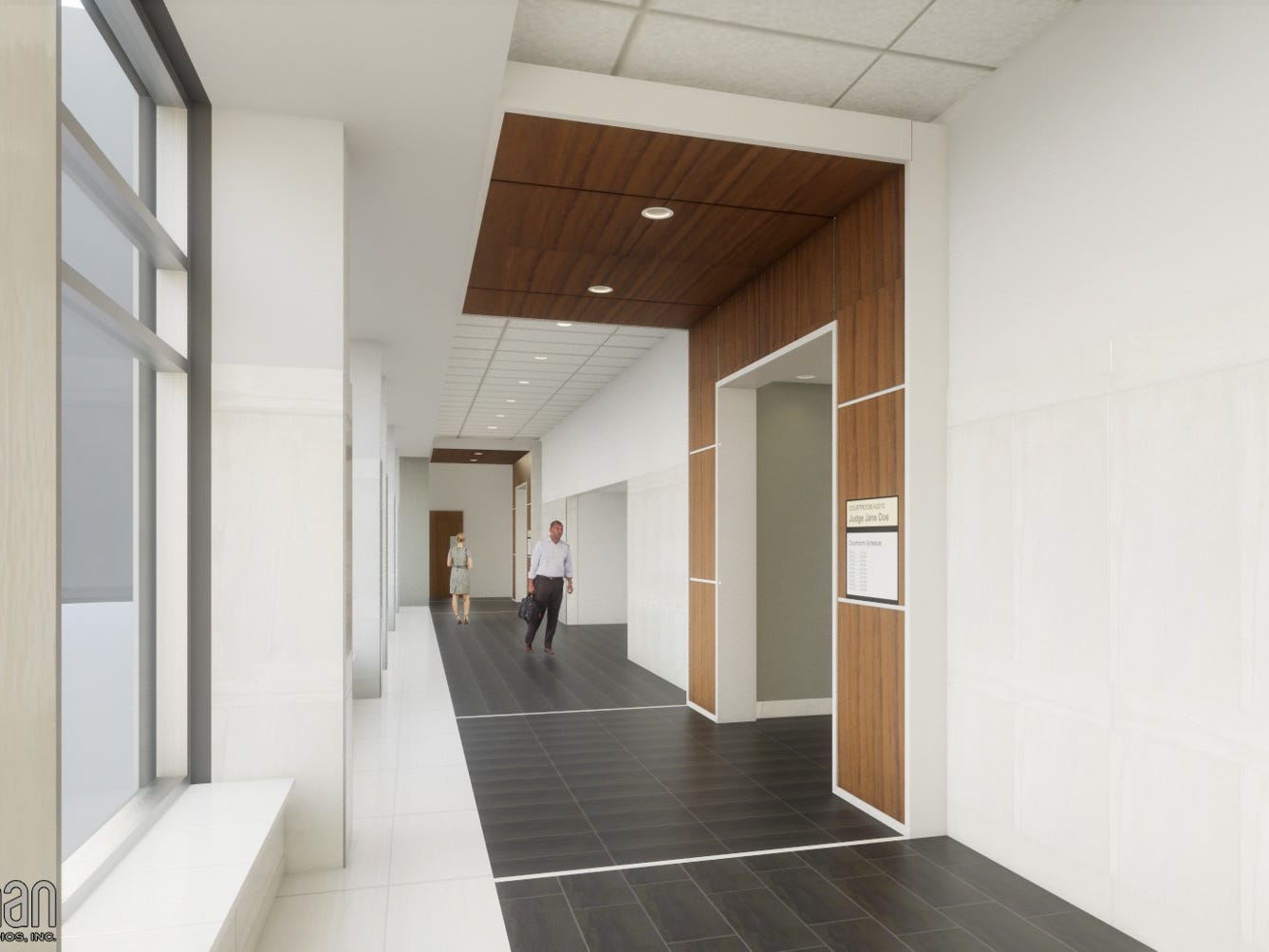 This rendering shows what the public corridor (south view) of the four-story, eight-courtroom addition at the Waukesha County Courthouse will look like once it is completed in 2021. Demolition on the existing court intake and old jail facilities at the construction site began March 11.
