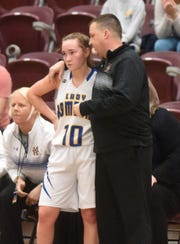 Mountain Home head coach Dell Leonard talks with senior Payton Huskey in the state tournament semifinals. Huskey was named to the all-state tournament team on Monday.