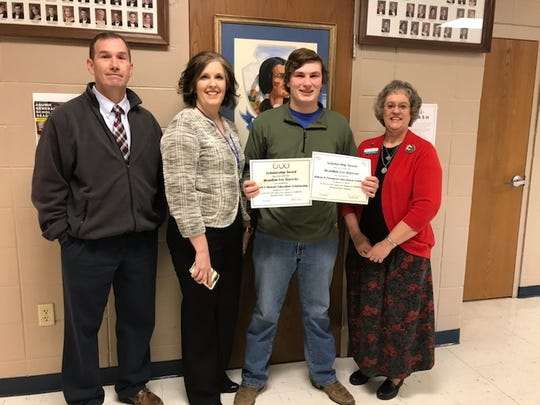 The First Security Trust Department recently named Brandon Barecky as the recipient of the William H. Thompson Educational Scholarship for $1,000 and the Robert J. Stewart Education Scholarship for $5,000. Pictured are: (from left) Doug Corley, Cotter High School Principal; Mrs. Vanessa Thomas-Jones, Cotter Superintendent; Barecky; and Marvina Carson, First Security Bank Trust Department. Barecky plans on attending Heartland Horseshoeing School in Lamar, Mo., after graduation.