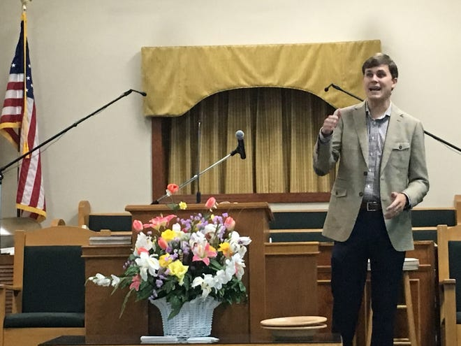 Will Dismukes preaches Sunday at Pleasant Hill Baptist Church in this file photo.