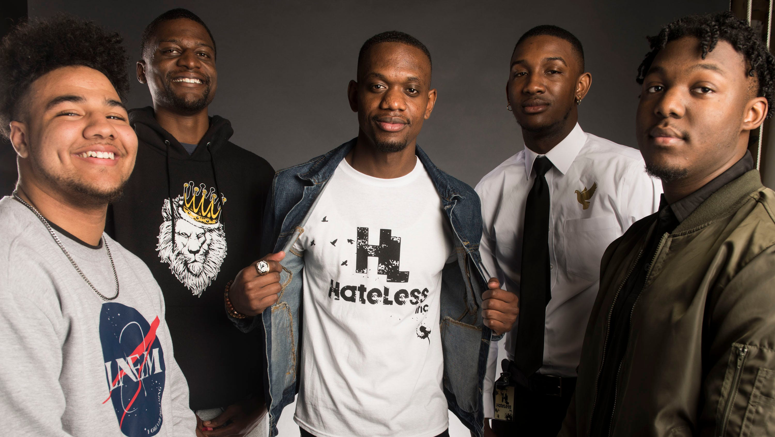 Anthony Gill, from left, James Herndon, founder Jarvis Provitt, Kenneth Bolden and Daniel Jones of the Hateless Foundation poses for a portrait in Montgomery, Ala., on Monday, March 11, 2019.