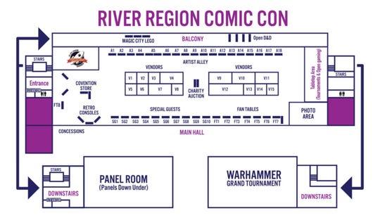 River Region Comic Con floor plan