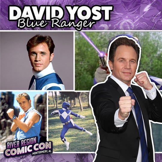 David Yost, the Blue Ranger from Mighty Morphin Power Rangers, will be at the 2019 River Region Comic Con in Montgomery