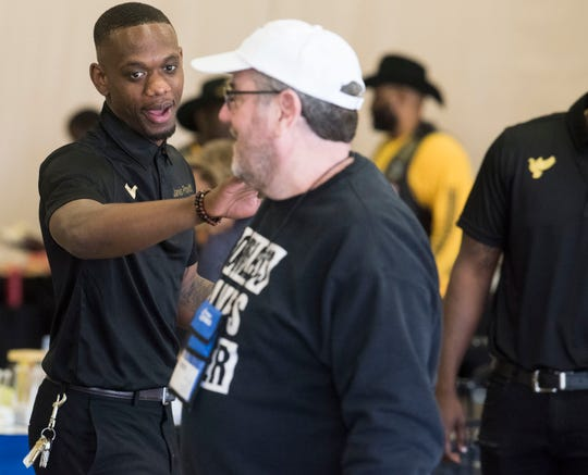 Jarvis Provitt of the Hateless foundation hosted a event to help feed people in need as well as connect them with other resources at the Cramton Bowl Multiplex in Montgomery, Ala., on Thursday, March 7, 2019.
