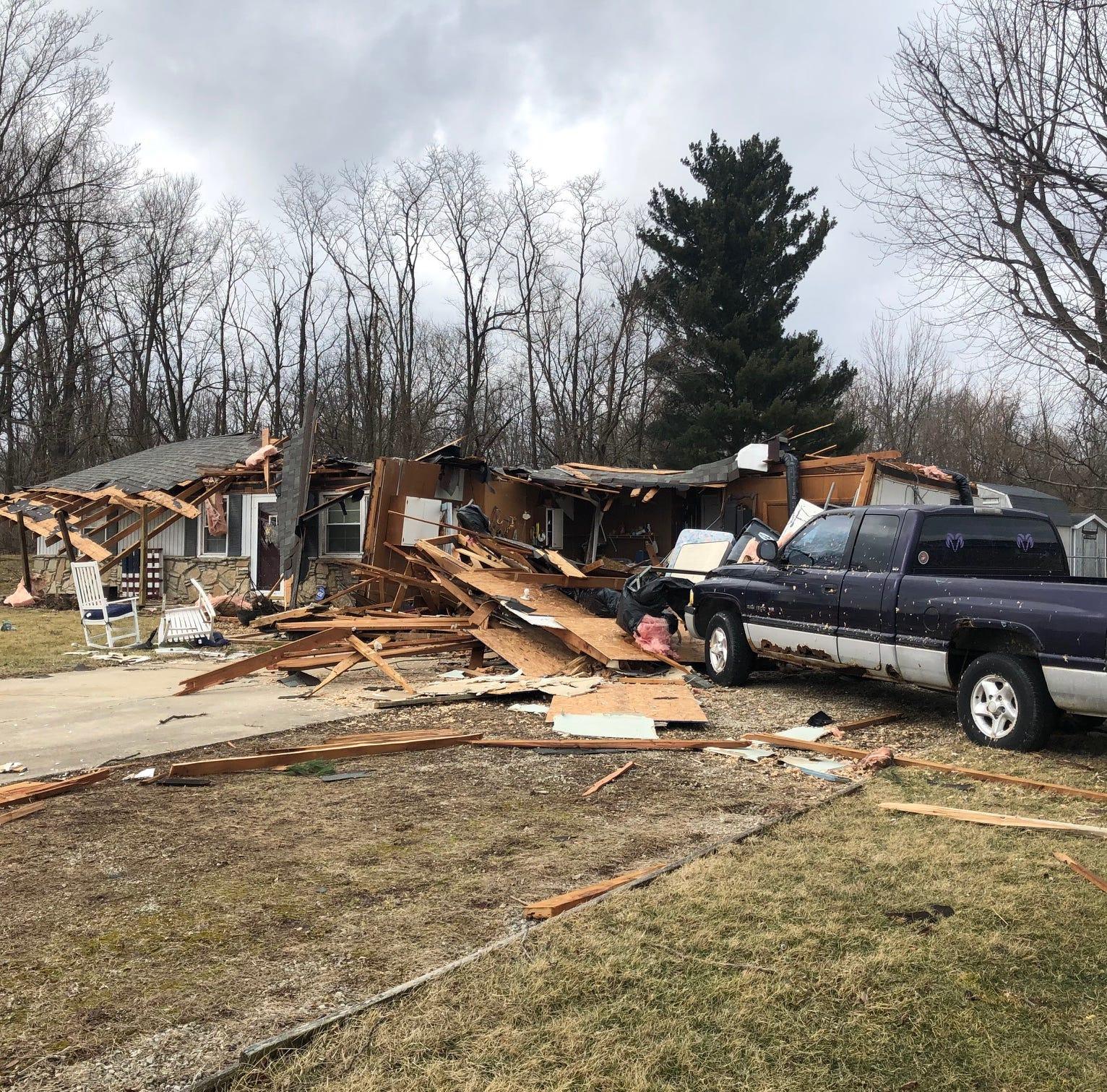 Eaton homes severely damaged by estimated 90 mph wind