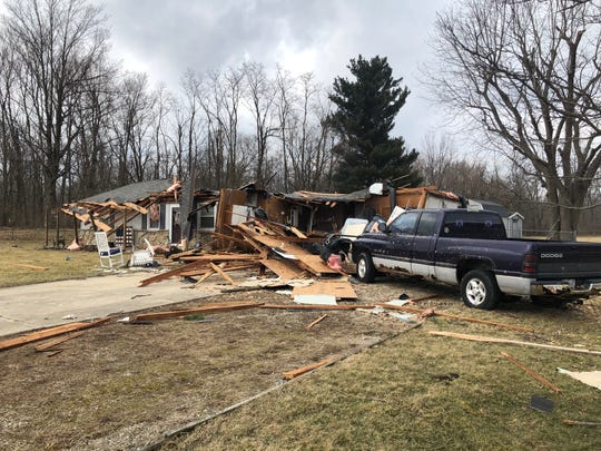 High winds damaged three homes in the Eaton area on Saturday night.