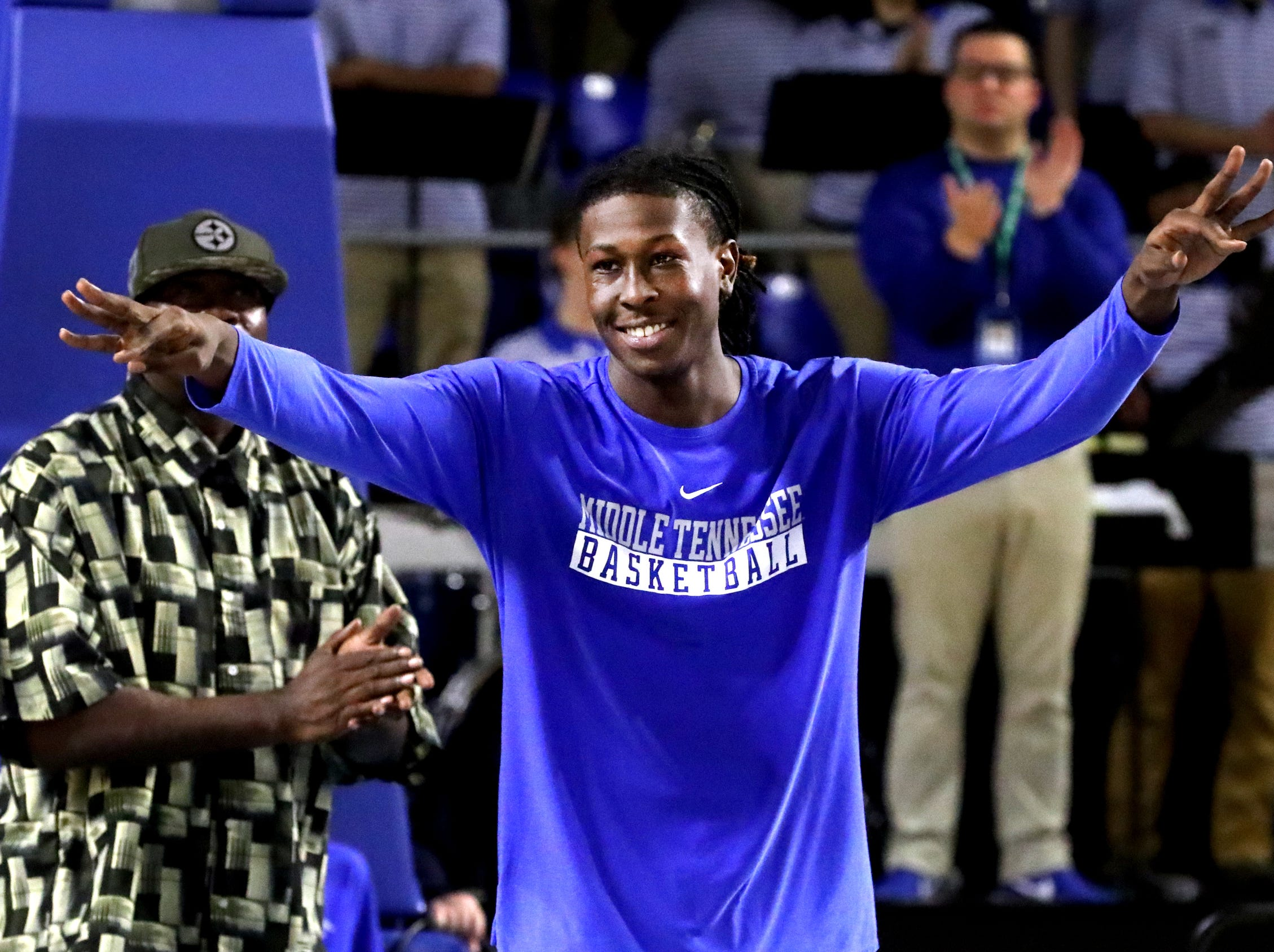 MTSU senior forward James Hawthorne (4) was honored on senior night before the game against UTEP on Saturday, March 9, 2019, at Murphy Center in Murfreesboro, Tenn.