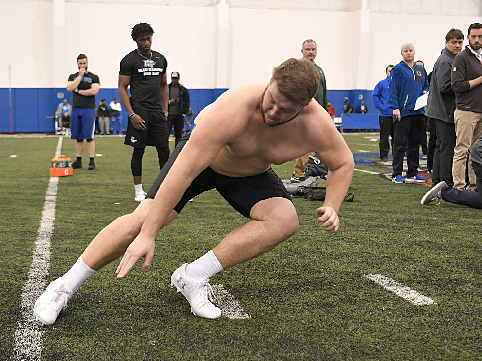 MTSU's Chandler Brewer runs drills during NFL Pro Day which was held at TSU in Nashville on Monday, March 11, 2019.