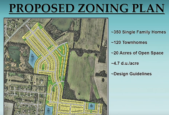 This rendering shows zoning plan for 350 single family homes and 120 townhomes off New Salem Highway.