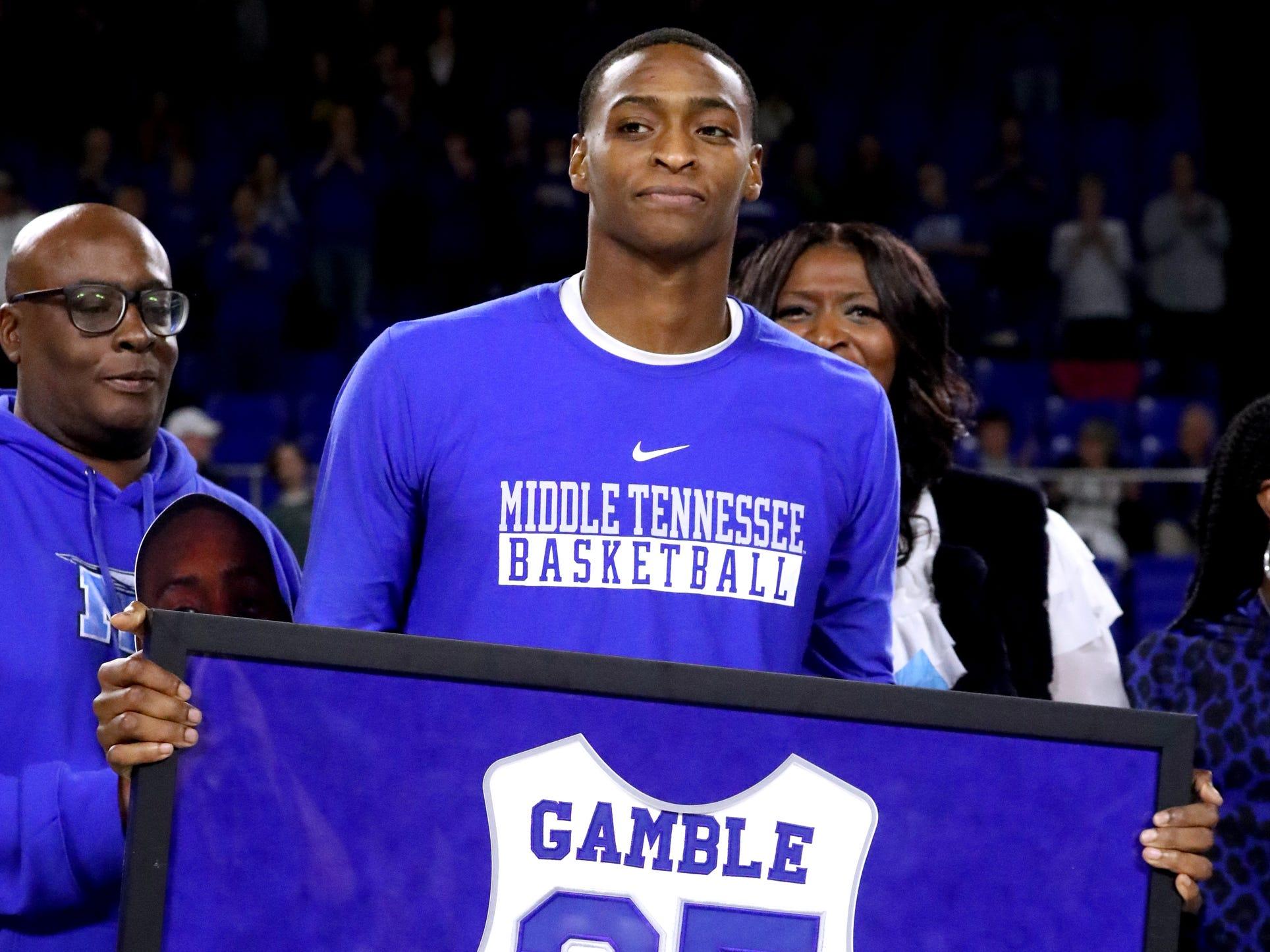 MTSU senior forward Karl Gamble (25) was honored during MTSU's senior night before the game against UTEP on Saturday, March 9, 2019, at Murphy Center in Murfreesboro, Tenn.