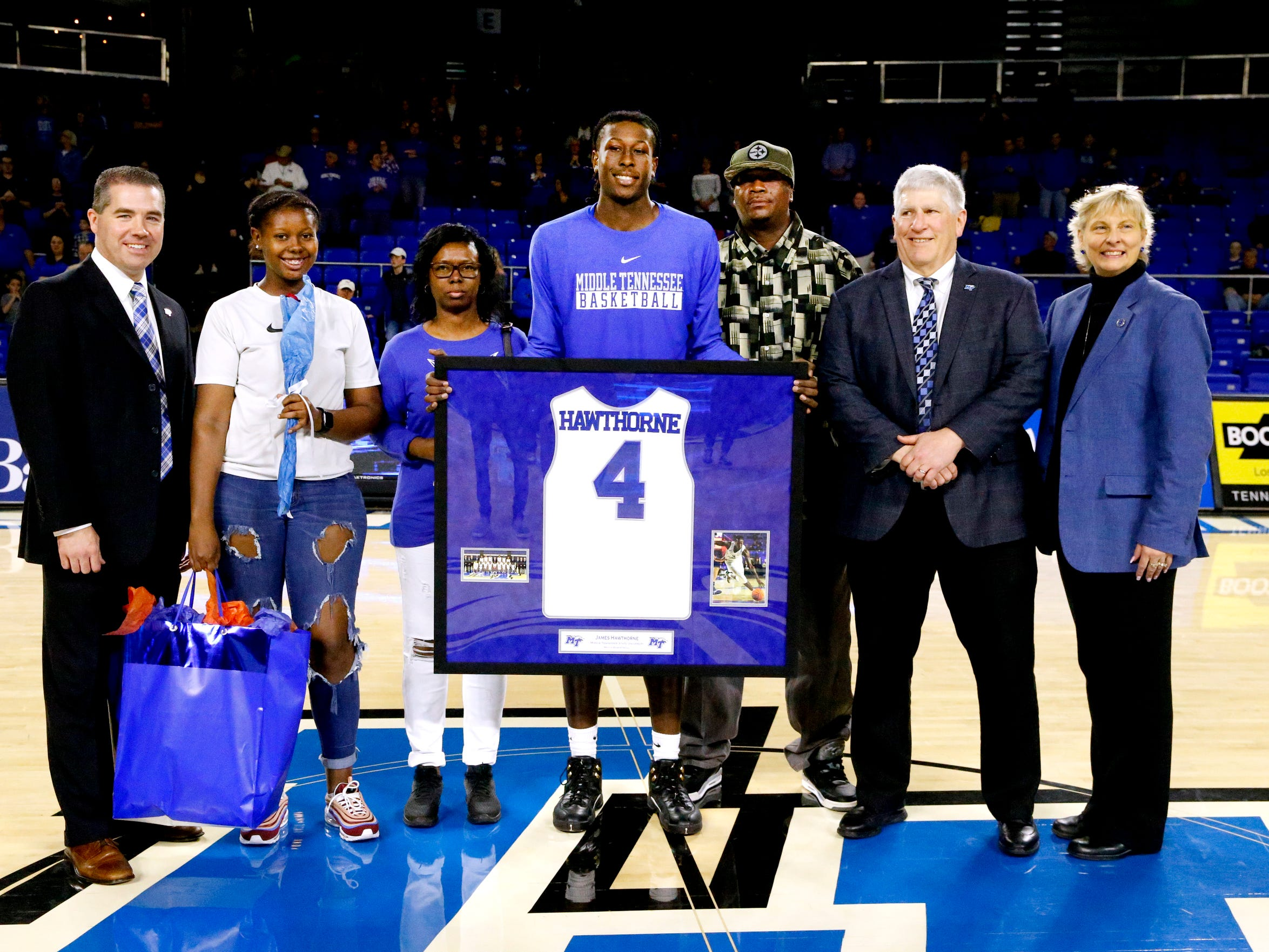 MTSU senior forward James Hawthorne (4) was honored during MTSU's senior night before the game against UTEP on Saturday, March 9, 2019, at Murphy Center in Murfreesboro, Tenn.