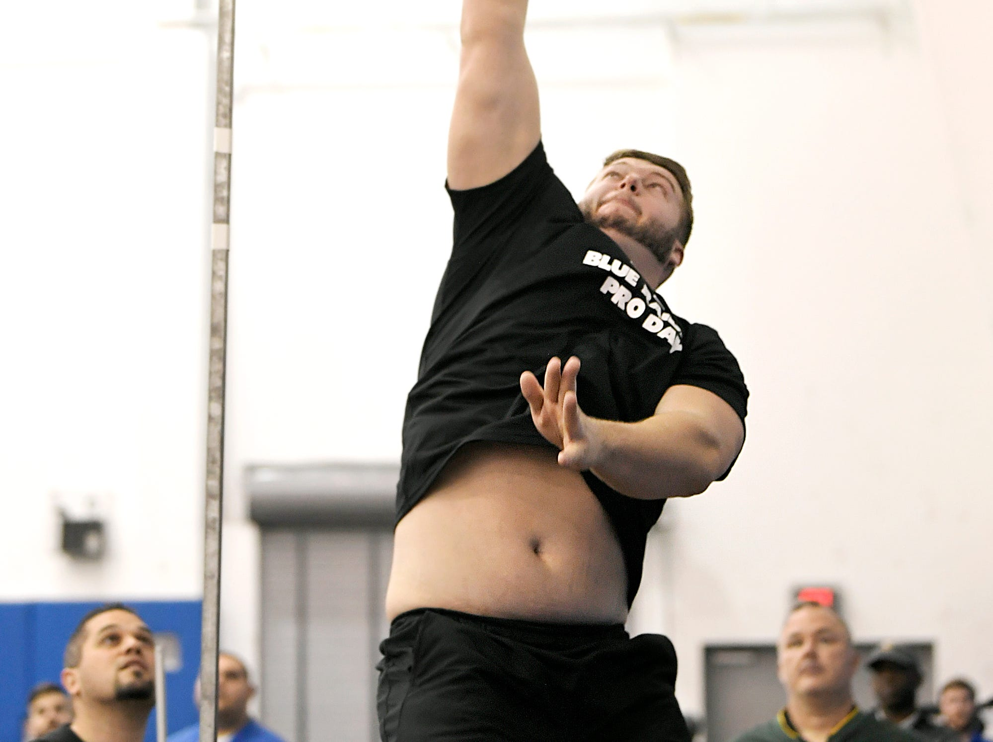MTSU's Chandler Brewer does a vertical jump during NFL Pro Day which was held at TSU in Nashville on Monday, March, 11, 2019.