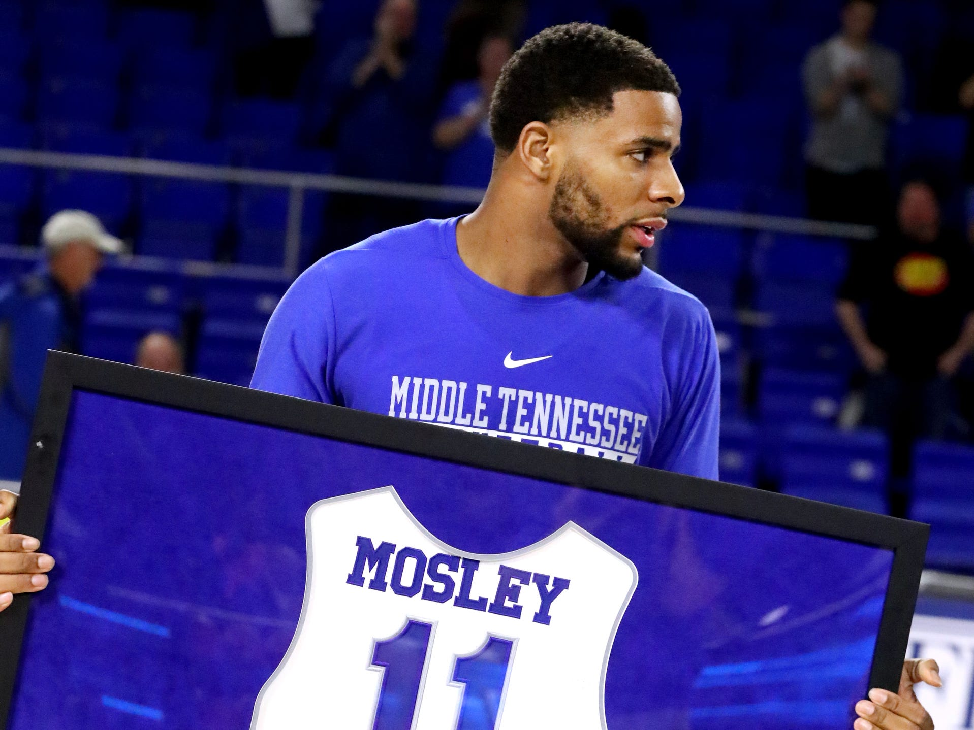 MTSU senior guard Lawrence Mosley (11) was honored during senior night before the game against UTEP on Saturday, March 9, 2019, at Murphy Center in Murfreesboro, Tenn.