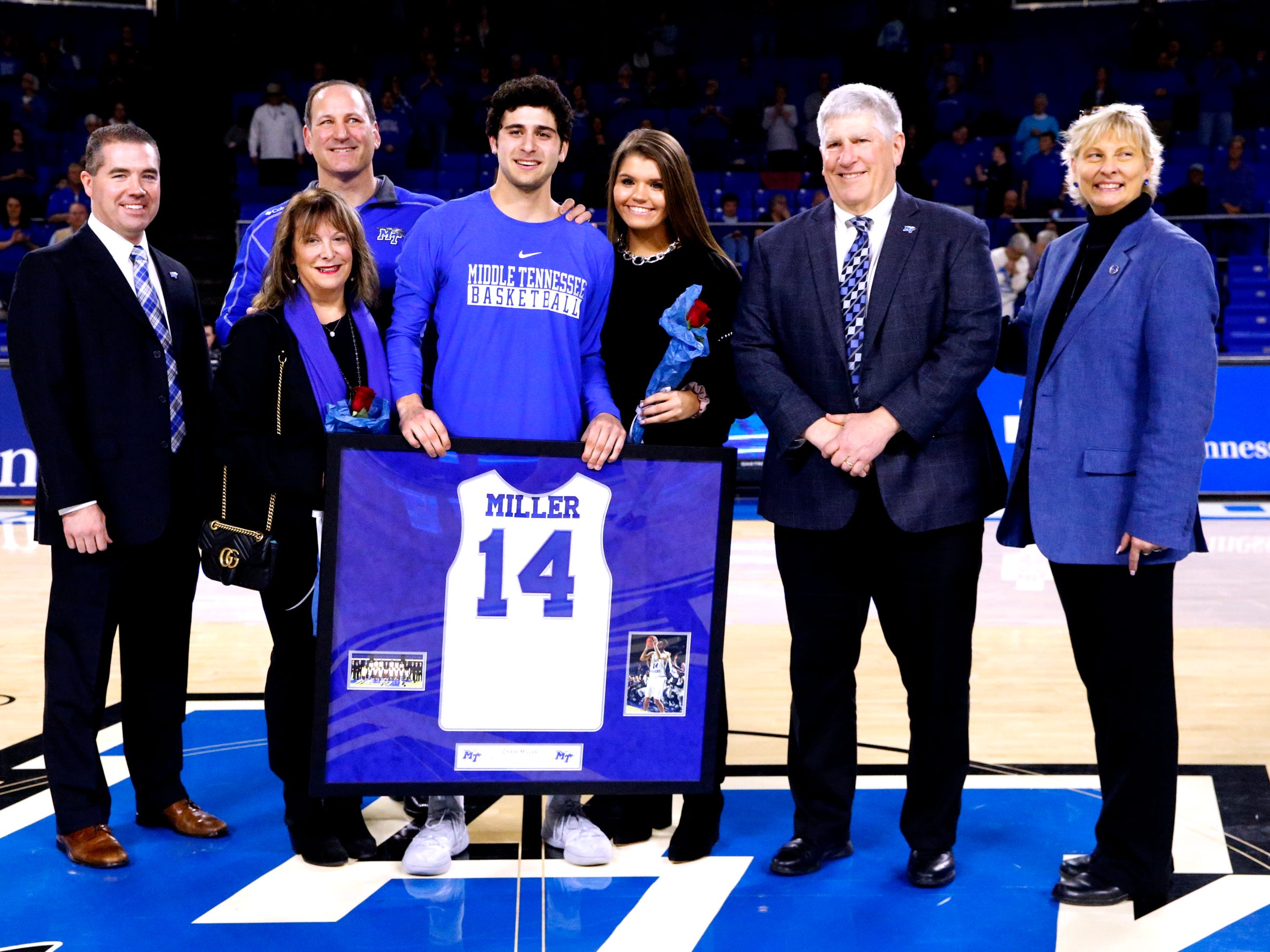 MTSU guard Chase Miller (14) was honored on senior night before the game against UTEP on Saturday, March 9, 2019, at Murphy Center in Murfreesboro, Tenn.