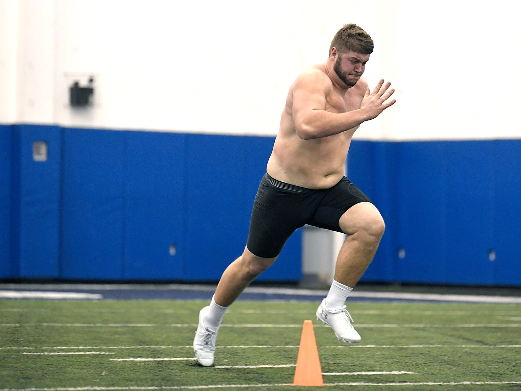 MTSU's Chandler Brewer runs the 40-yard dash during NFL Pro Day which was held at TSU in Nashville on Monday, March 11, 2019.