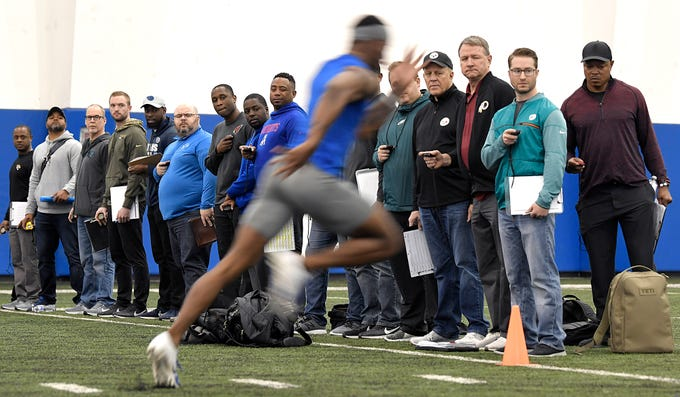 Over 30 NFL team representatives watch MTSU players run drills during NFL Pro Day which was held at TSU in Nashville on Monday, March 11, 2019.