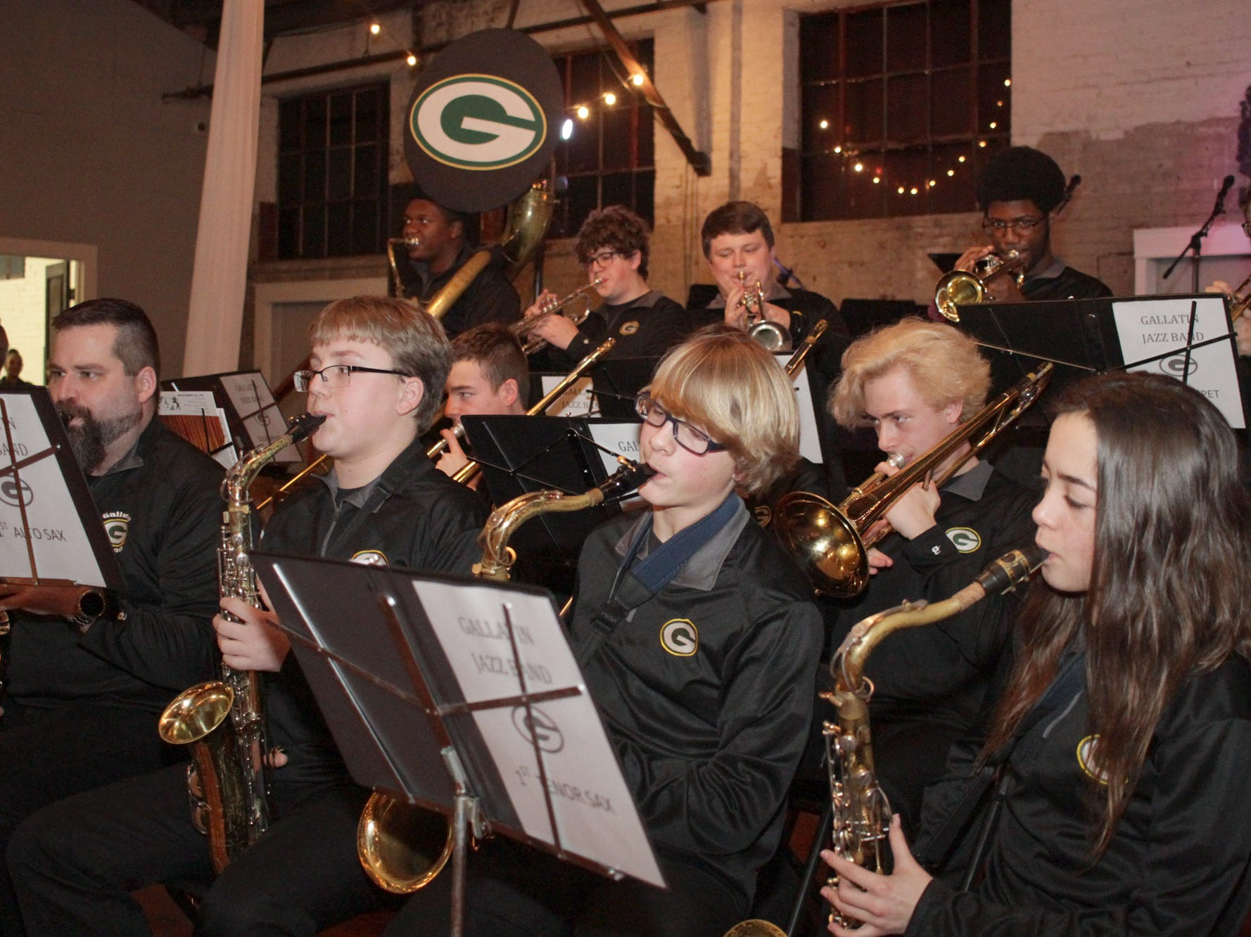 The Gallatin High School Band play at the Green and Gold Gala benefitting their school on Saturday, March 9, 2019.