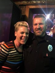 Pink with Tootsie's security officer Chris Keen.