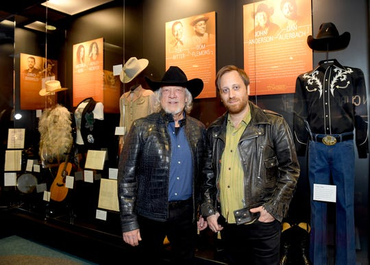 "John Anderson and Dan Auerbach at the Country Music Hall of Fame and Museum's new exhibition, ""American Currents: The Music of 2018,"" on March 5 in Nashville. Auerbach served as producer for Anderson's new (as-yet untitled and unreleased) album."
