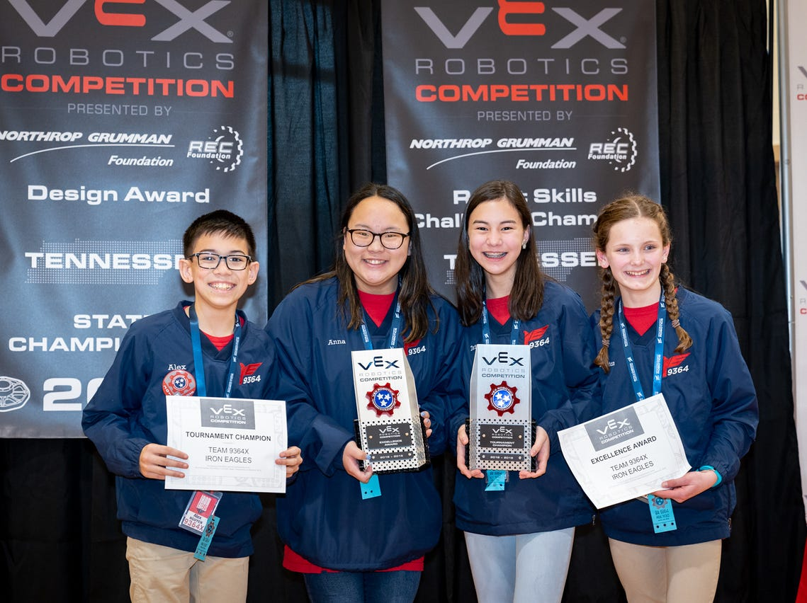 Brentwood Academy students Alex Nguyen, Anna Grace Wooten, Tate Cho and Emily Melton advance to the VEX world championship.