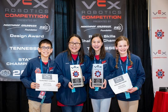 Brentwood Academy students Alex Nguyen, Anna Grace Wooten, Tate Cho and Emily Melton have advanced to the VEX world championship.