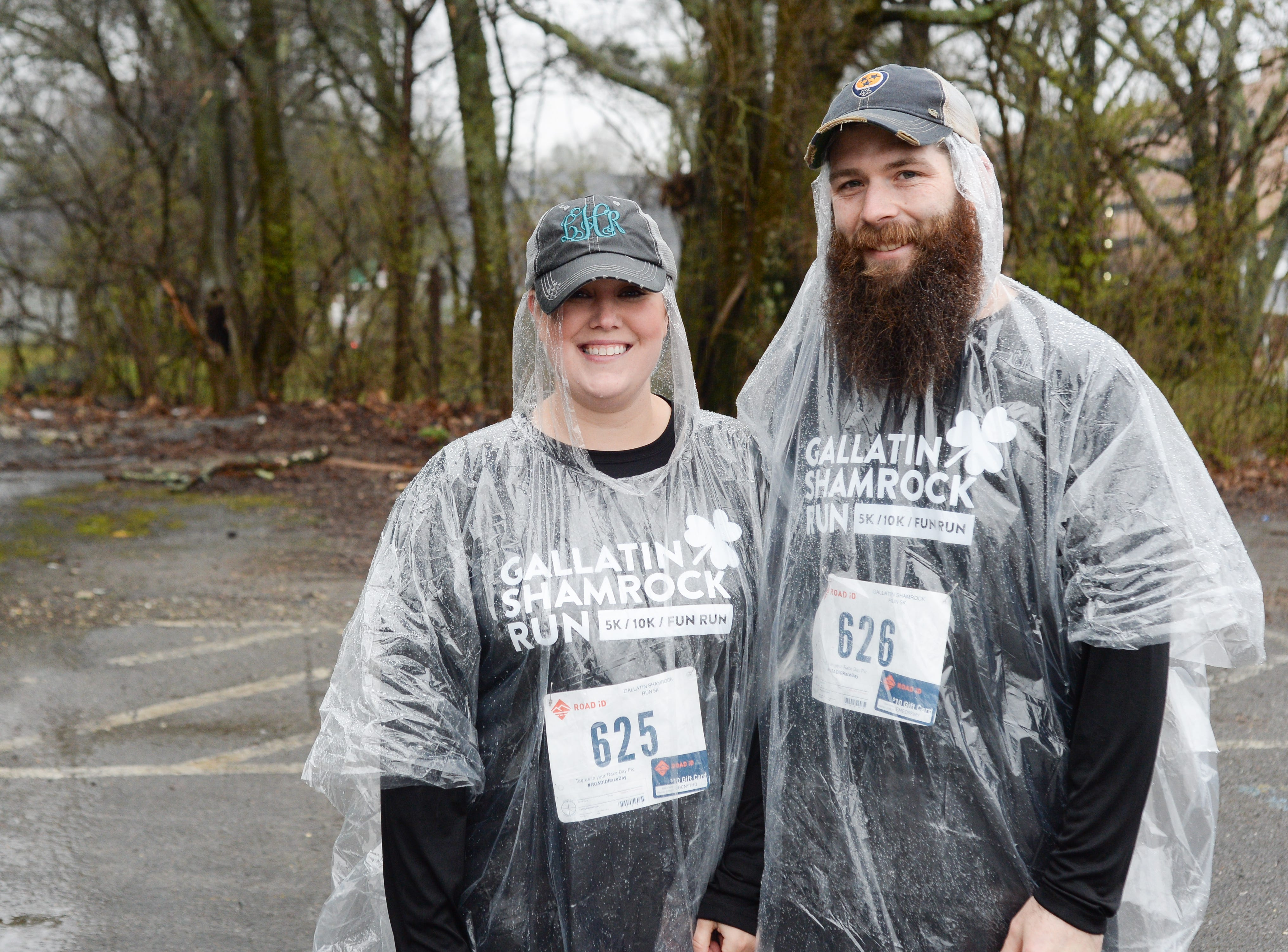 Lindsay and Victor Harned came prepared for rain during the Gallatin Shamrock Run on Saturday, March 9.