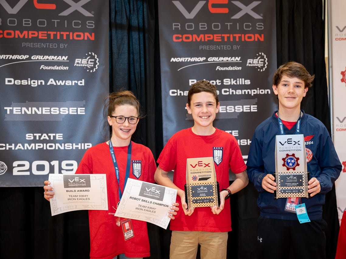 Brentwood Academy students Emerson Simpson, Ben Fisher and Sam Hyatt advance to the VEX world championship.