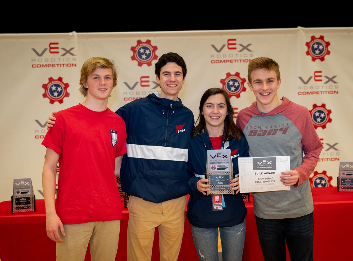 Brentwood Academy students Brock Powell, Jon Mason Billington, Katie Ann Edgeworth and Hank Roberson advance to the VEX world championship.