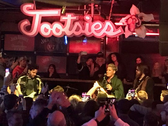 Pop star Pink played some songs with the house band at Tootsie's Orchid Lounge in Nashville after her Sunday night concert at Bridgestone Arena.
