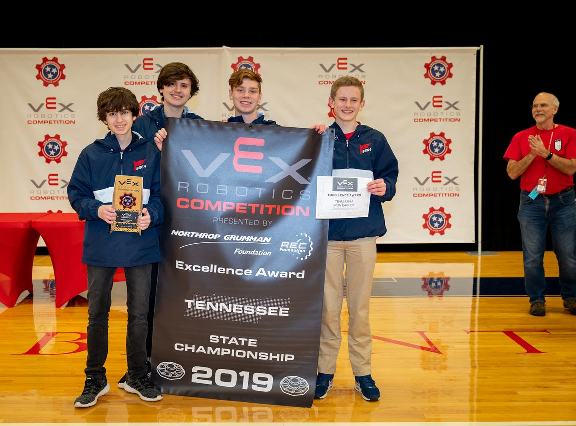 Brentwood Academy students Ladd Edgeworth, Matthew Lambreth, Gus Elliott and Patrick Melton advance to VEX world championships.