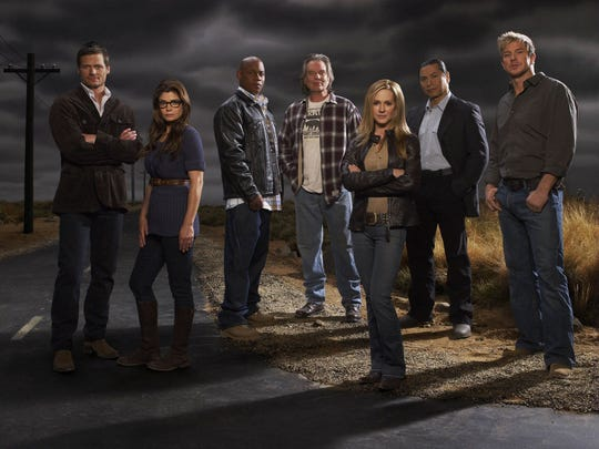 "Bailey Chase, from left, Laura San Giacomo, Bokeem Woodbine, Leon Rippy, Holly Hunter, Gregory Norman Cruz and Kenneth Johnson appear in the TNT network television program ""Saving Grace."""