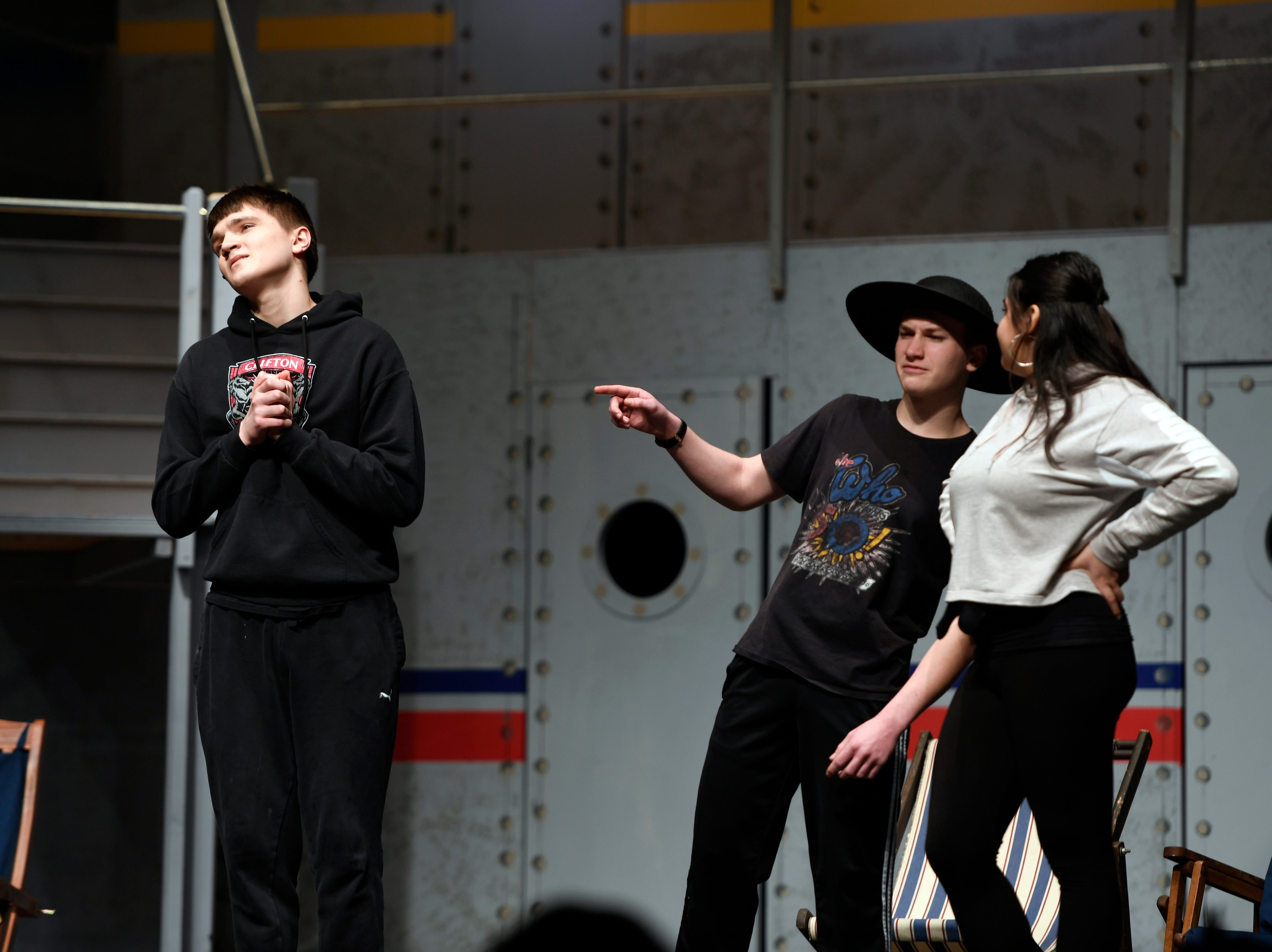 """(from left) Ian Kearney, Max Rubin, and Zariah Rivera perform during a dress rehearsal for the musical """"Anything Goes"""" on Monday, March 11, 2019, in Clifton. Clifton High School auditorium is hosting performances this Friday night, Saturday night, and Sunday afternoon."""