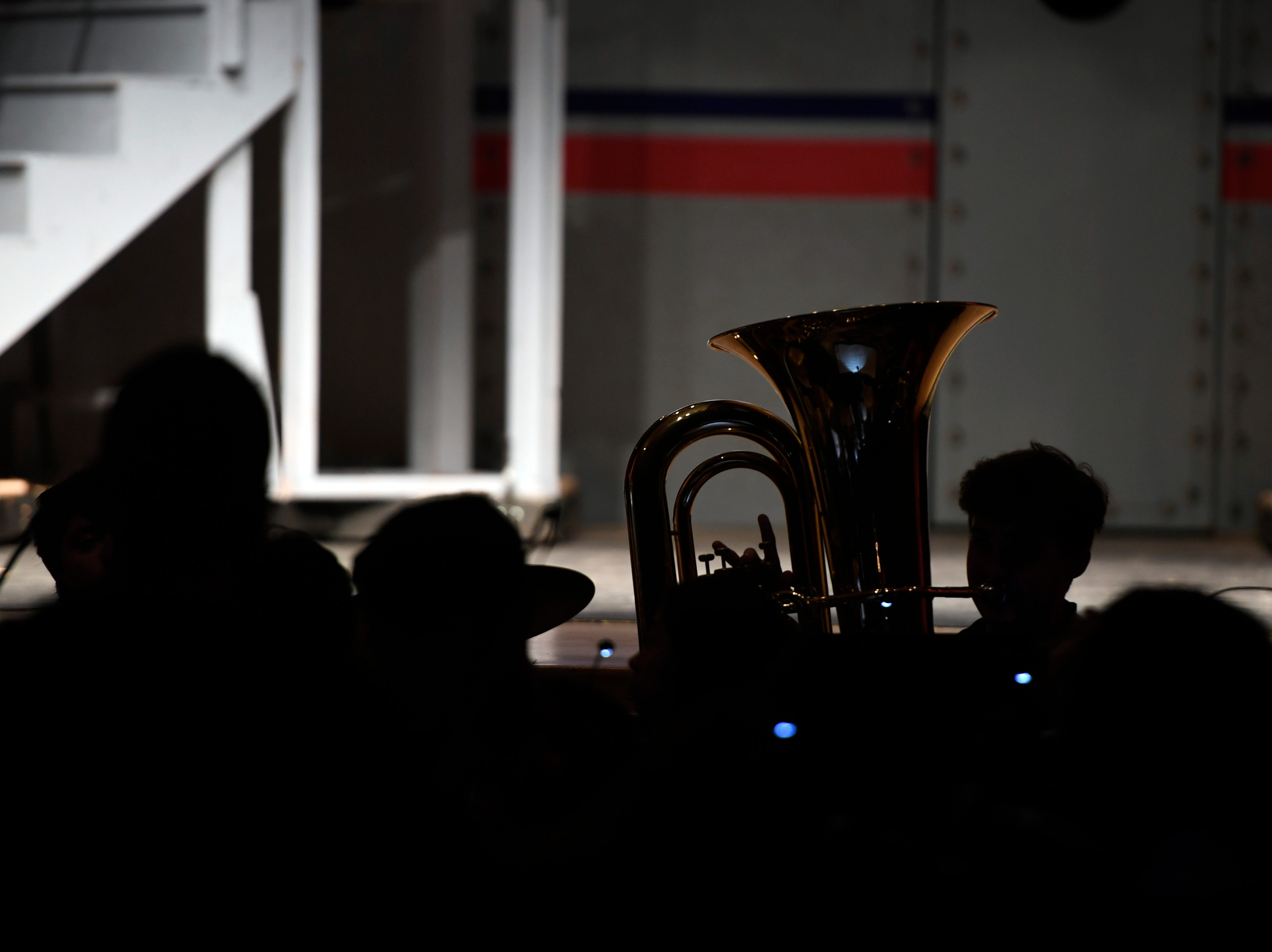"""The Clifton High School band play during a dress rehearsal for the musical """"Anything Goes"""" on Monday, March 11, 2019, in Clifton."""