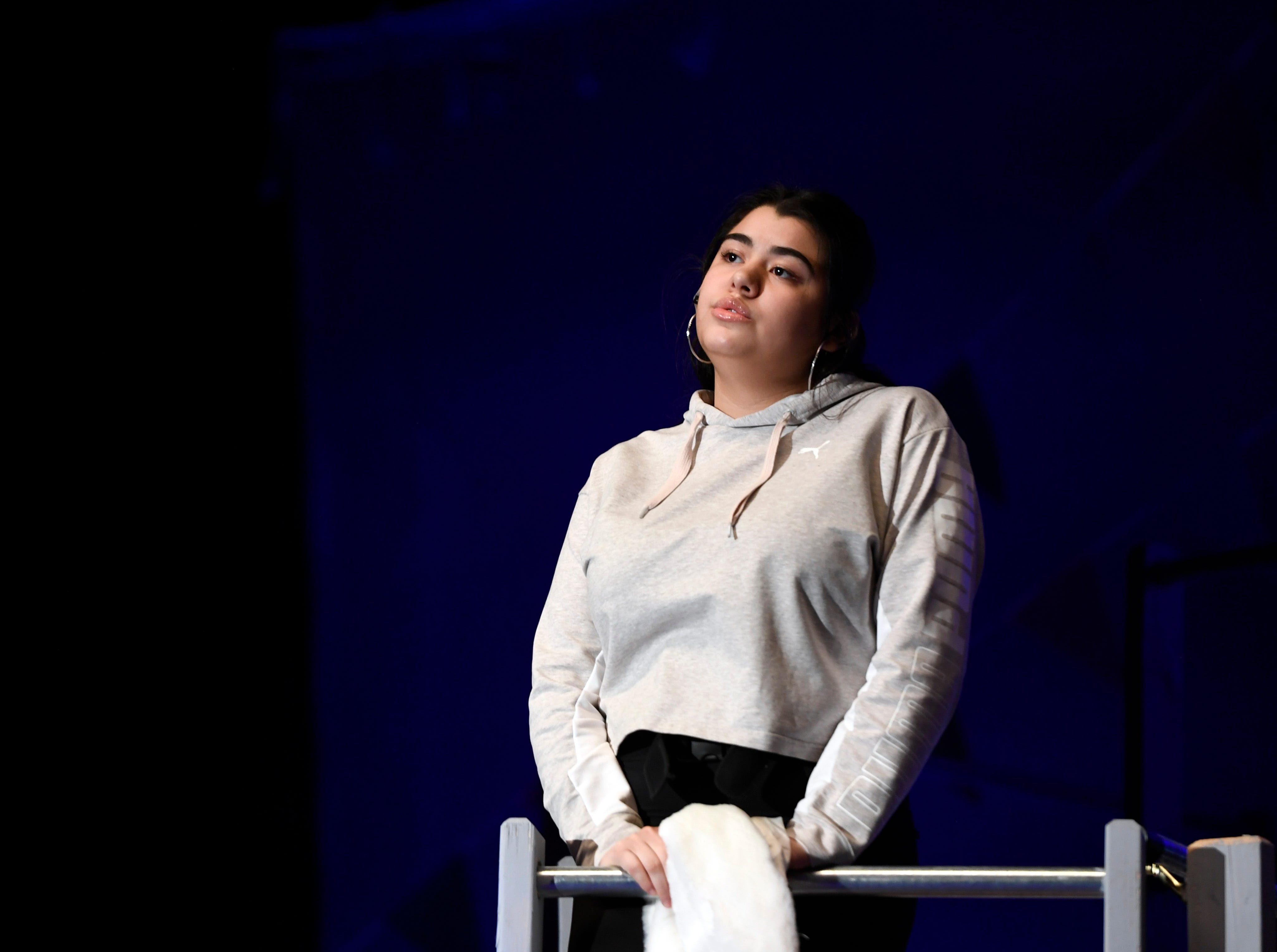 """Zariah Rivera, playing Reno Sweeney, sings during a dress rehearsal for the musical """"Anything Goes"""" on Monday, March 11, 2019, in Clifton."""